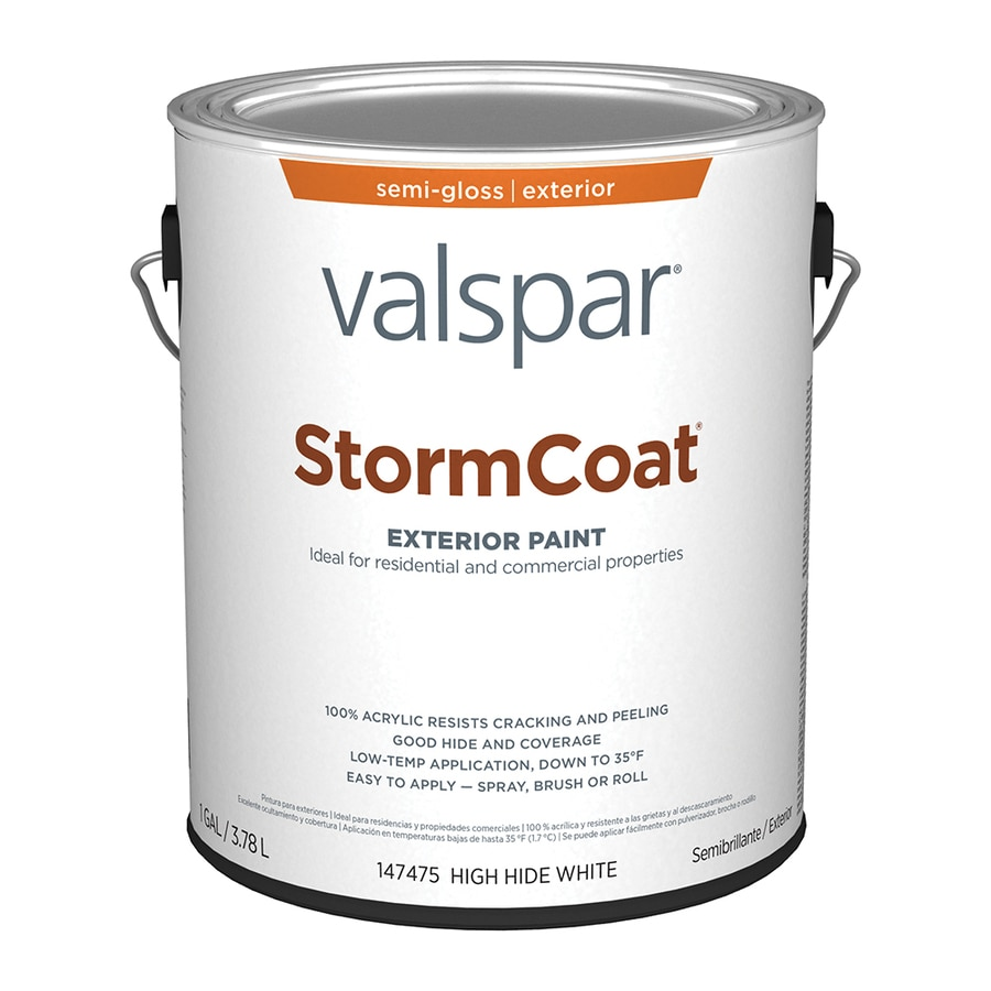 Shop Valspar Stormcoat Semi Gloss White Latex Exterior Paint Actual Net Contents 128 Fl Oz At