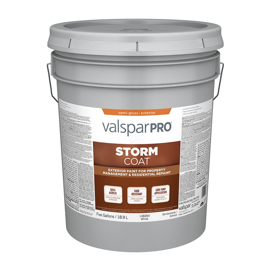 Shop Valspar Stormcoat Semi Gloss White Latex Exterior Paint Actual Net Contents 640 Fl Oz At