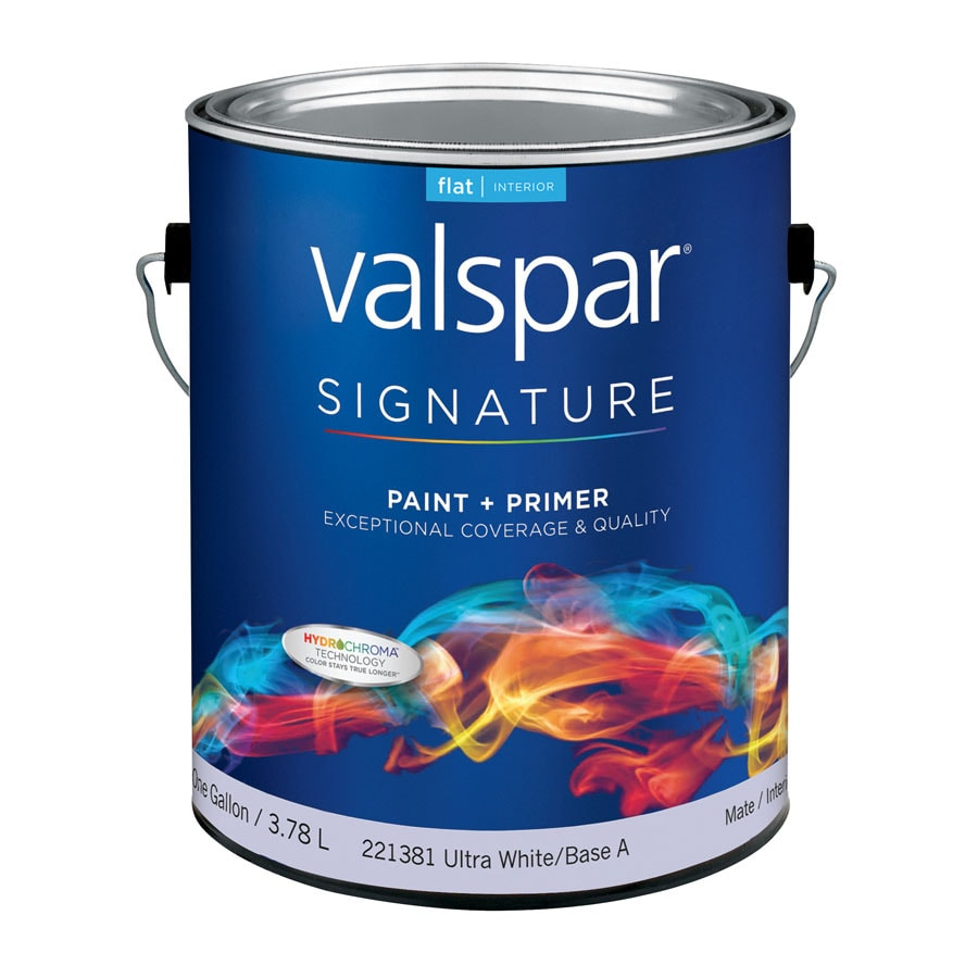 Valspar Signature White Flat Latex Interior Paint and Primer in One (Actual Net Contents: 128-fl oz)