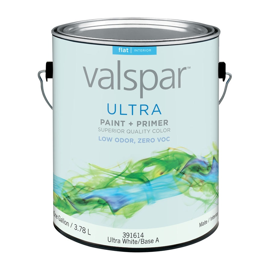 shop valspar ultra white flat latex interior paint and