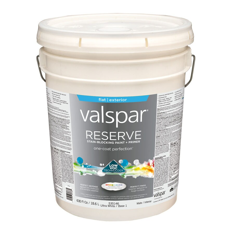 Valspar Reserve Ultra White/Base 1 Flat Exterior Paint (Actual Net Contents: 630-fl oz)
