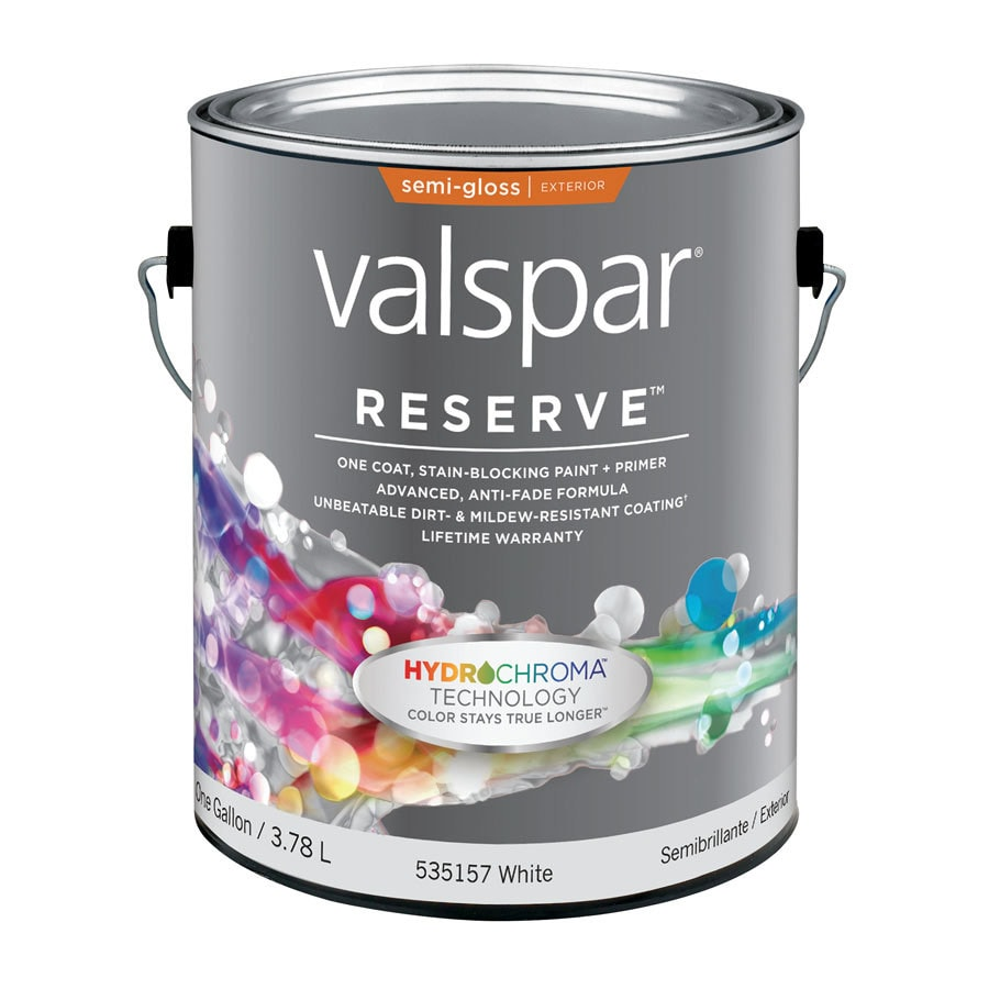 Shop valspar reserve white semi gloss latex exterior paint actual net contents 128 fl oz at - Exterior white gloss paint image ...