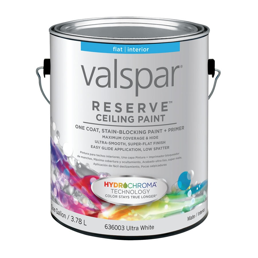 Valspar Reserve Ceiling White Flat Latex Interior Paint And Primer In One Actual Net Contents 128 Fl Oz