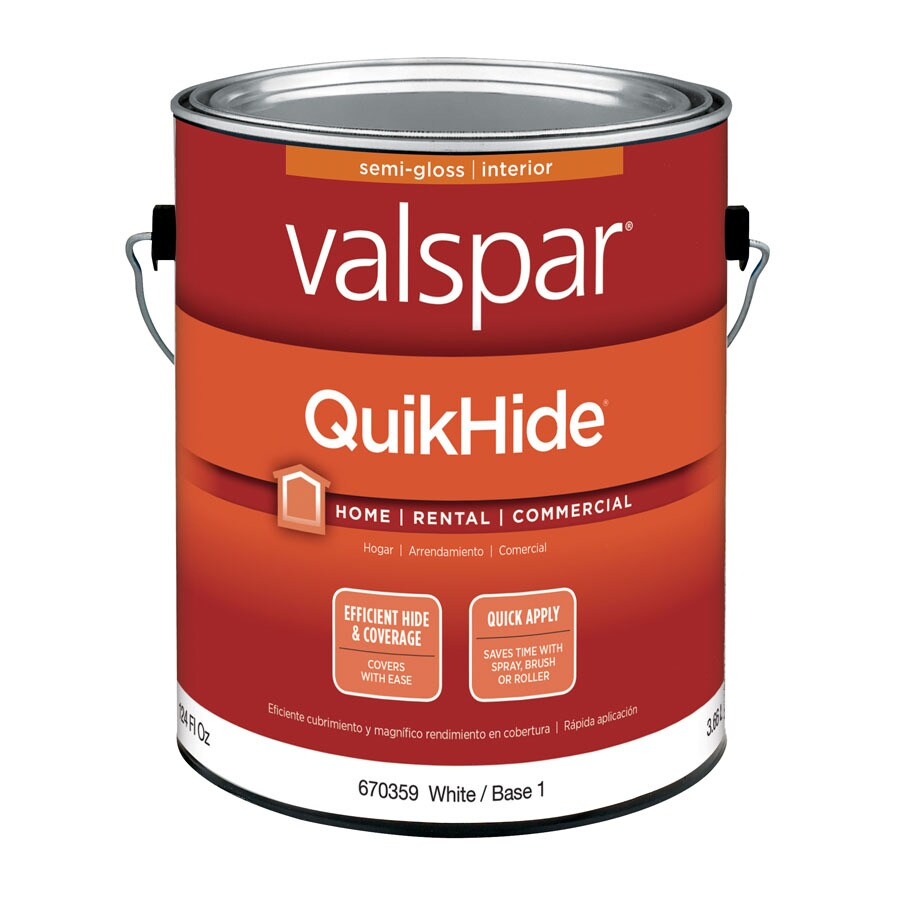 shop valspar quikhide white semi gloss latex interior paint actual net contents 124 fl oz at. Black Bedroom Furniture Sets. Home Design Ideas