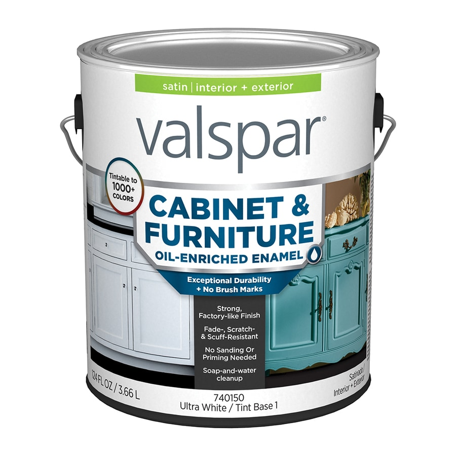 Shop Valspar Furniture Satin Latex Interior Exterior Paint Actual Net Contents 124 Fl Oz At