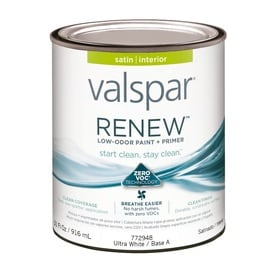 valspar renew satin latex interior paint and primer in one actual net. Black Bedroom Furniture Sets. Home Design Ideas