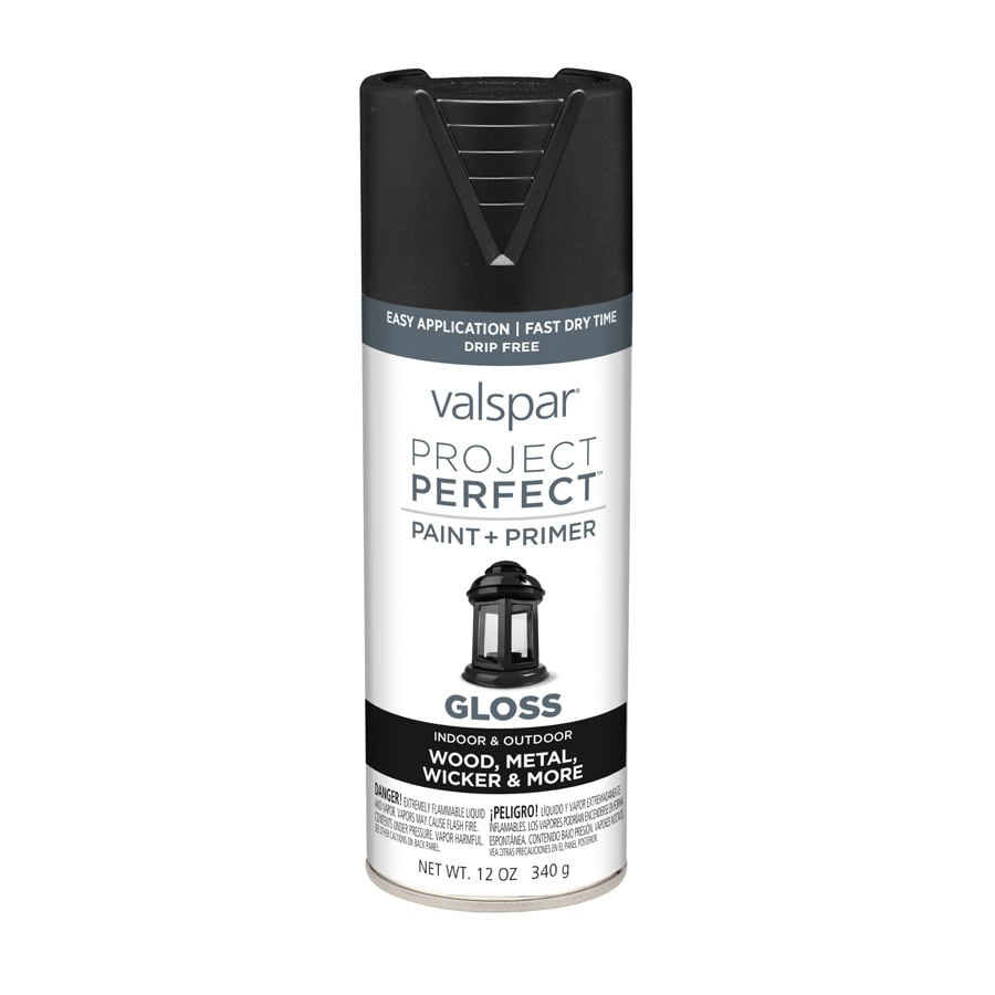 Valspar Project Perfect Black Enamel Spray Paint (Actual Net Contents: 12-oz)
