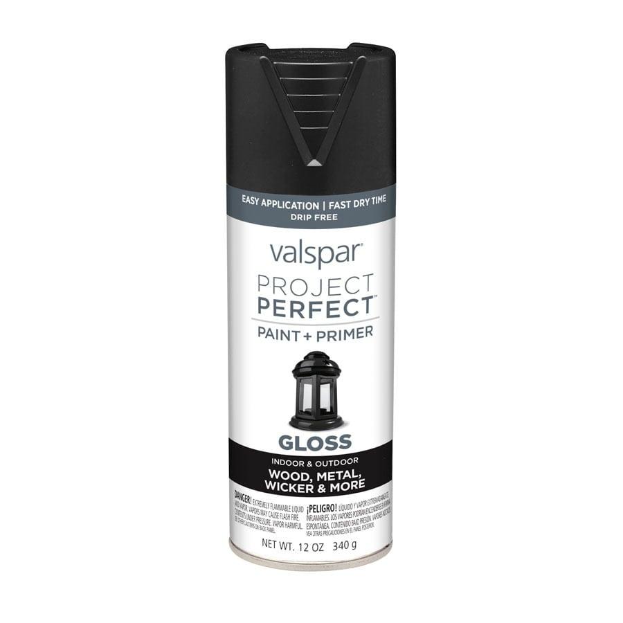 Valspar Project Perfect Black Fade Resistant Enamel Spray Paint (Actual Net Contents: 12-oz)
