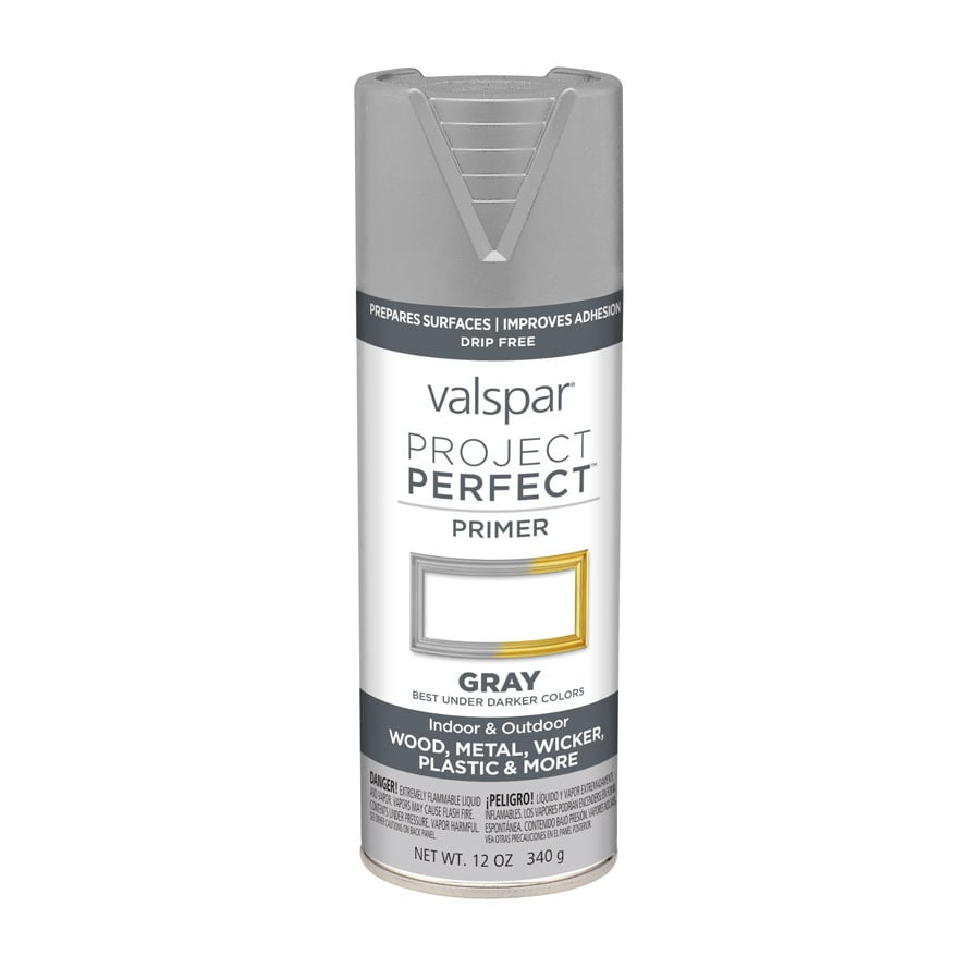Shop Valspar Project Perfect Gray Primer Enamel Spray Paint Actual Net Contents 12 Oz At