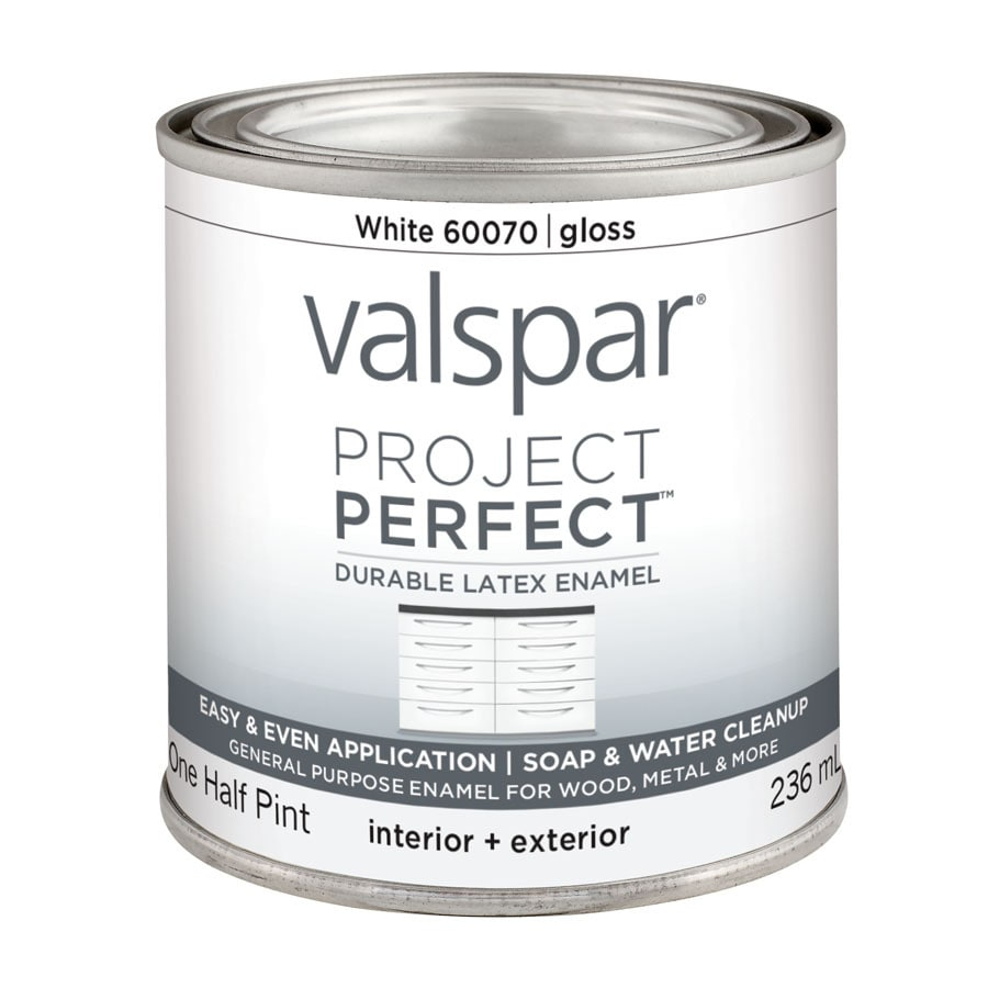 White Latex Paint : Shop valspar project perfect white gloss latex enamel