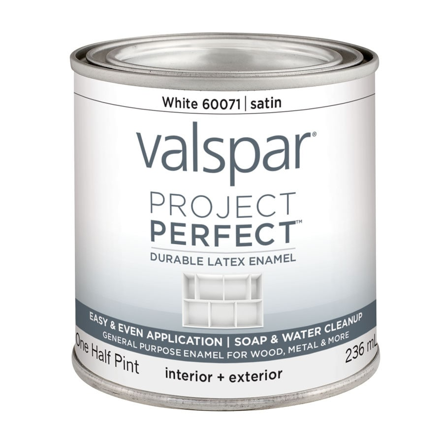 Valspar Project Perfect White Satin Latex Enamel Interior/Exterior Paint (Actual Net Contents: 8-fl oz)
