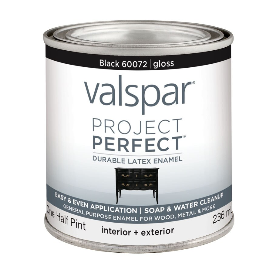 Valspar Project Perfect Black Gloss Latex Enamel Interior/Exterior Paint (Actual Net Contents: 8-fl oz)