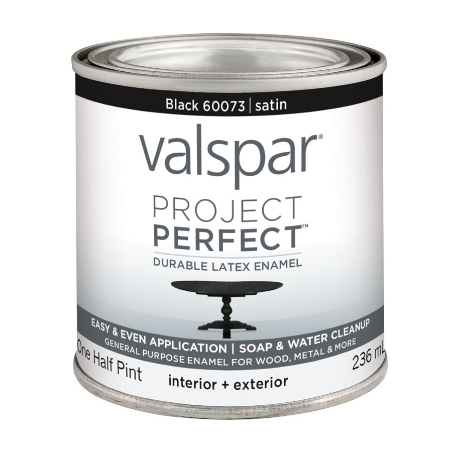 Valspar Project Perfect Black Satin Latex Enamel Interior/Exterior Paint (Actual Net Contents: 8-fl oz)