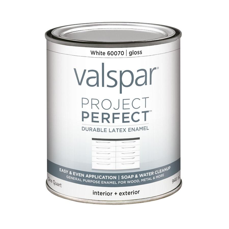 Valspar Project Perfect White Gloss Latex Enamel Interior/Exterior Paint  (Actual Net Contents:
