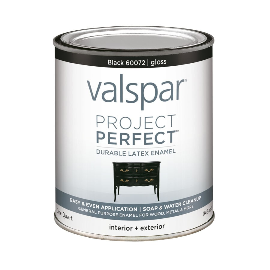 Shop Valspar Project Perfect Black Gloss Latex Enamel Interior Exterior Paint Actual Net