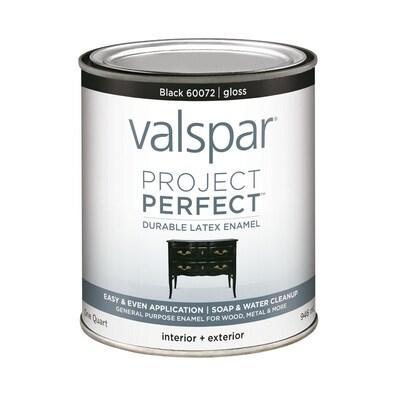 Lowes Paint App >> Project Perfect Gloss Black Latex Enamel Paint Actual Net Contents 32 Fl Oz