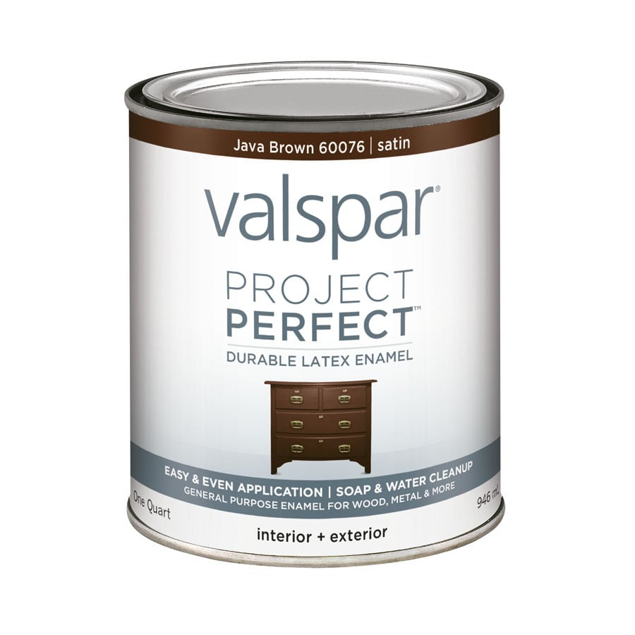 Shop valspar project perfect java brown satin latex enamel interior exterior paint actual net Best satin paint