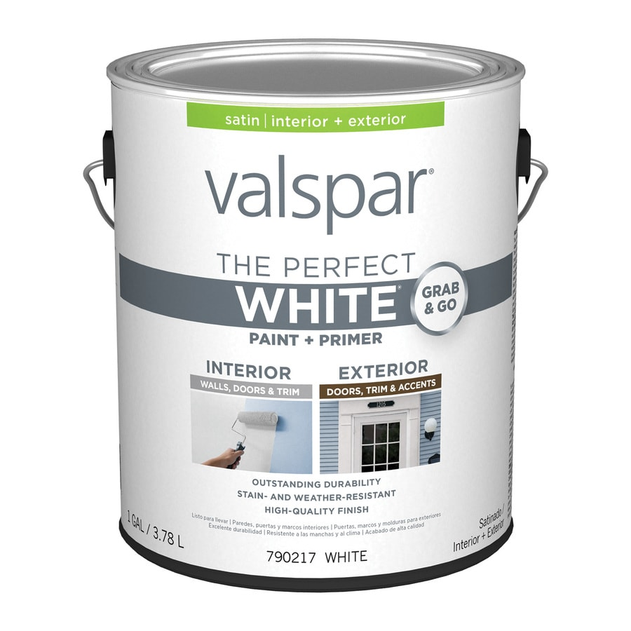 Shop Valspar Perfect White Satin Latex Interior Paint And Primer In One Actual Net Contents