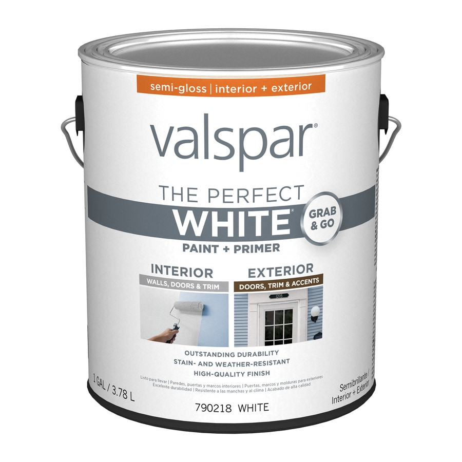 Shop Valspar Semi Gloss Perfect White Latex Paint And Primer In One Actual Net Contents 128 Fl