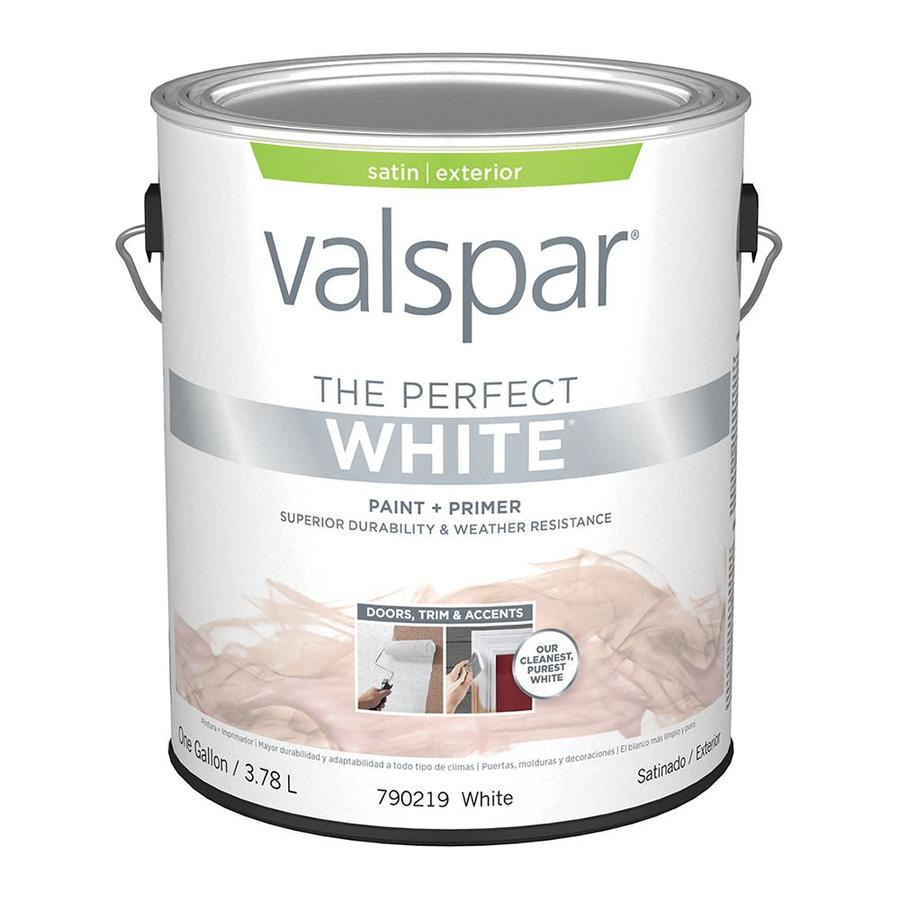 Shop Valspar Perfect White Satin Latex Exterior Paint Actual Net Contents 128 Fl Oz At