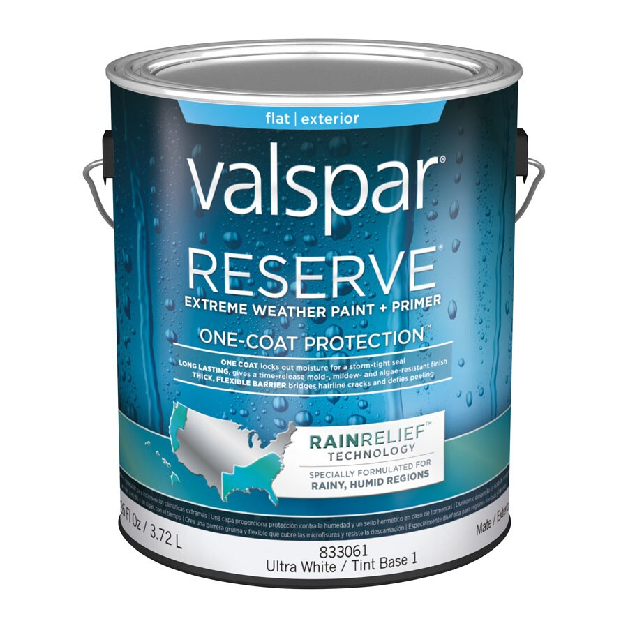 Shop Valspar Reserve Rain Relief Flat Latex Exterior Paint Actual Net Contents 126 Fl Oz At