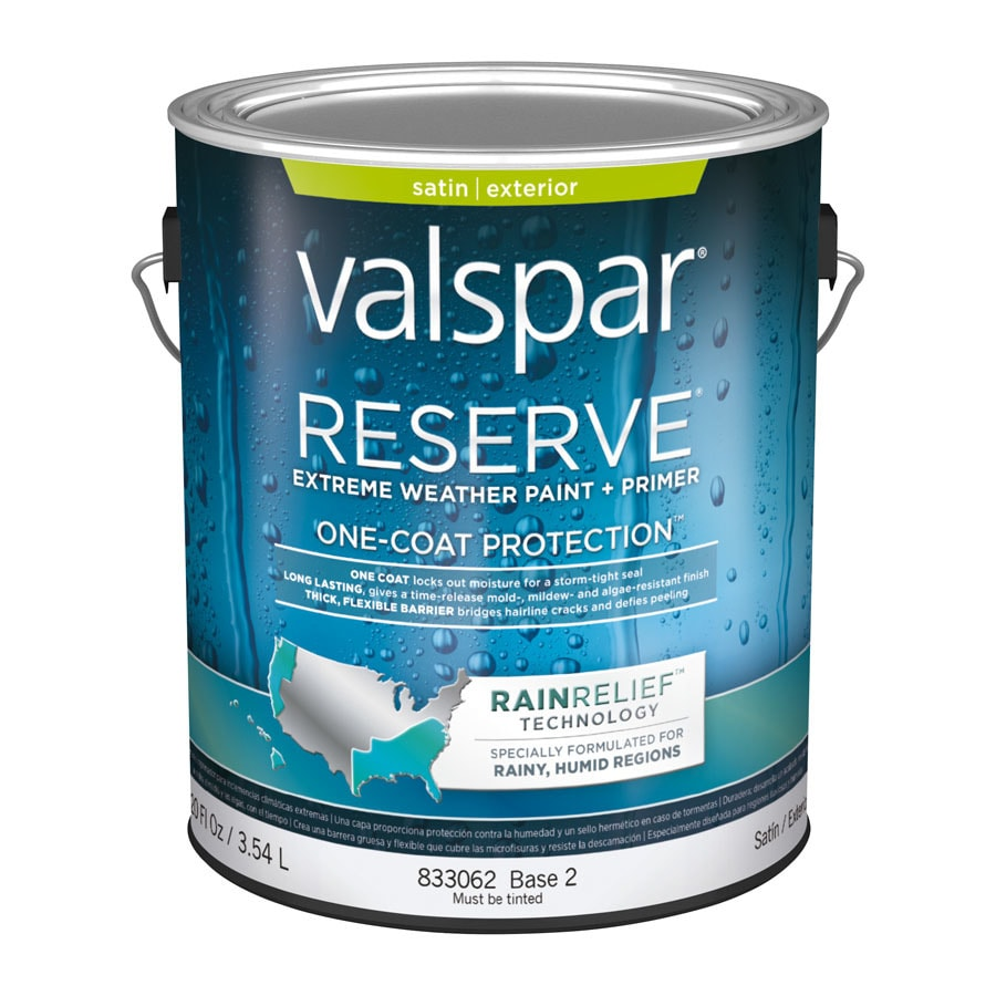 Shop valspar reserve rain relief satin latex exterior paint actual net contents 120 fl oz at - Exterior satin wood paint property ...
