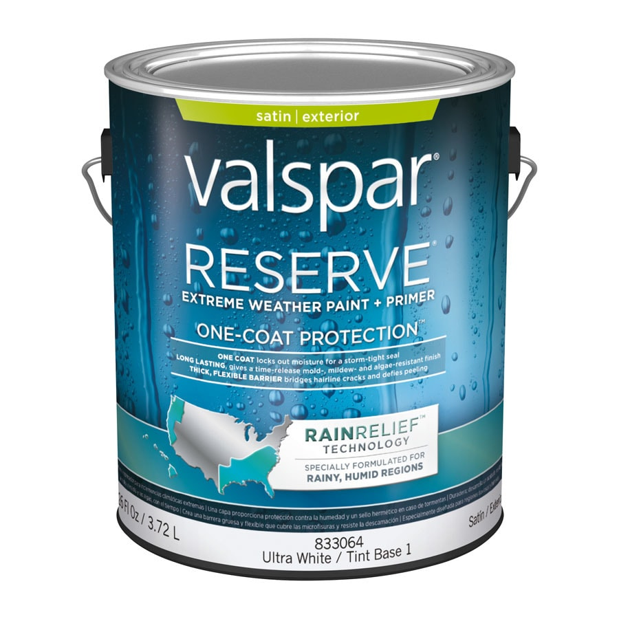 Shop Valspar Reserve Rain Relief Satin Latex Exterior Paint Actual Net Contents 126 Fl Oz At