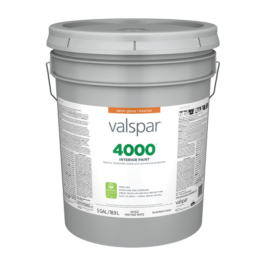 Valspar 4000 Semi Gloss High Hiding White Interior Paint 5 Gallon In The Interior Paint Department At Lowes Com