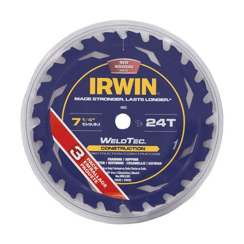 """6 IRWIN WELDTEC 7-1//4/"""" CARBIDE TIPPED CIRCULAR SAW BLADES 24T 24 TOOTH FRAMING"""