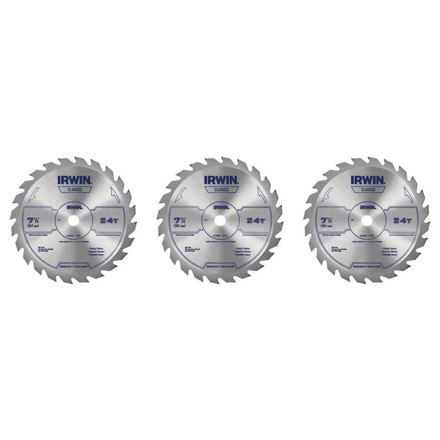 IRWIN Classic 3-Pack 7-1/4-in 24-Tooth High-Speed Steel Circular Saw Blade