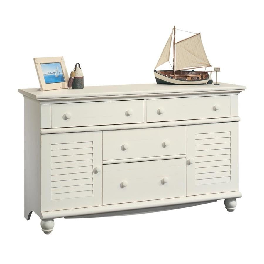 shop sauder harbor view antiqued white 4 drawer dresser at. Black Bedroom Furniture Sets. Home Design Ideas