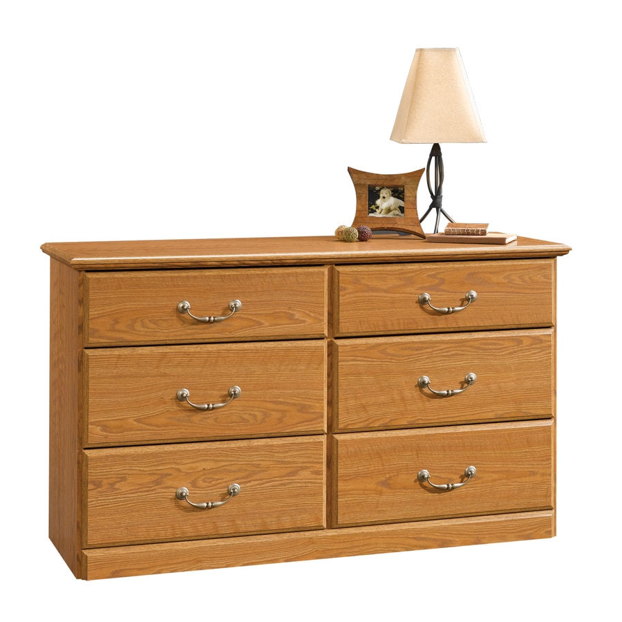 bedroom dresser with mirror shop sauder orchard carolina oak 6 drawer dresser at 14275