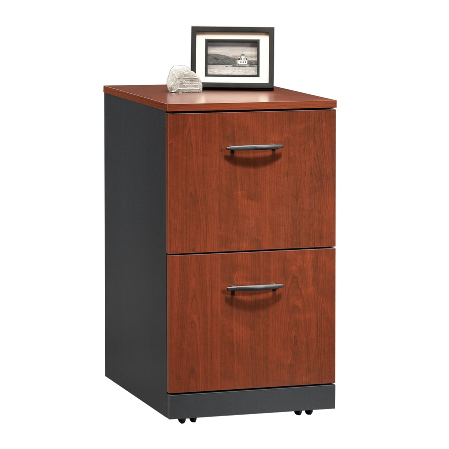 Sauder Via Classic Cherry/Soft Black 2 Drawer File Cabinet