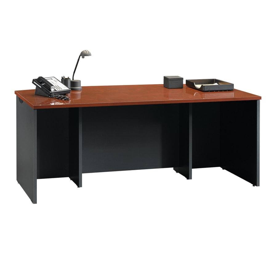 Sauder Via Classic Cherry Soft Black Executive Desk