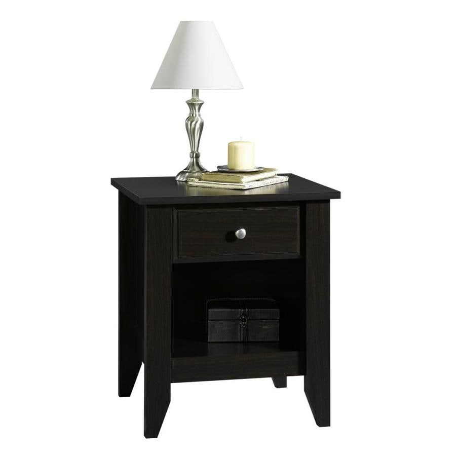 Shop sauder shoal creek jamocha wood nightstand at for Black wood nightstand