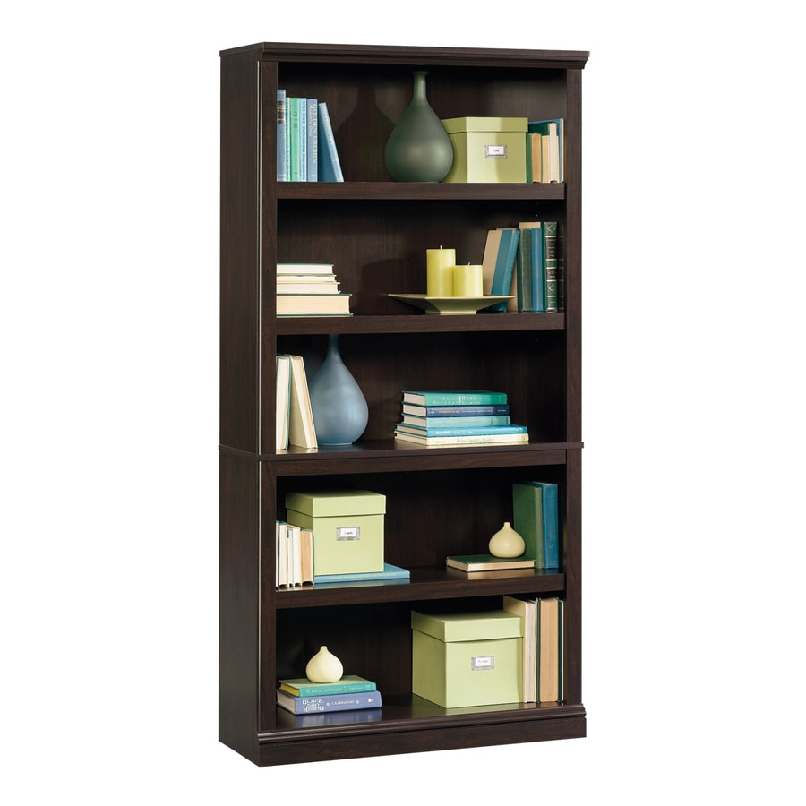 Sauder Jamocha Wood 35.25-in W x 69.75-in H x 13.25-in D 5-Shelf Bookcase
