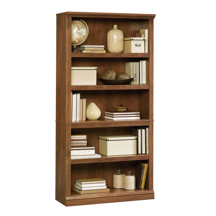 Sauder Oiled Oak 35.25-in W x 69.75-in H x 13.25-in D 5-Shelf Bookcase