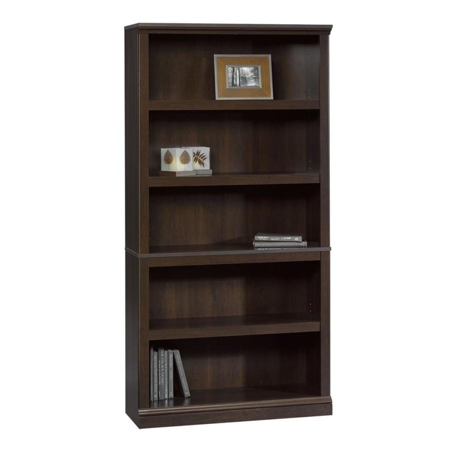Sauder Cinnamon Cherry 35.25-in W x 69.75-in H x 13.25-in D 5-Shelf Bookcase