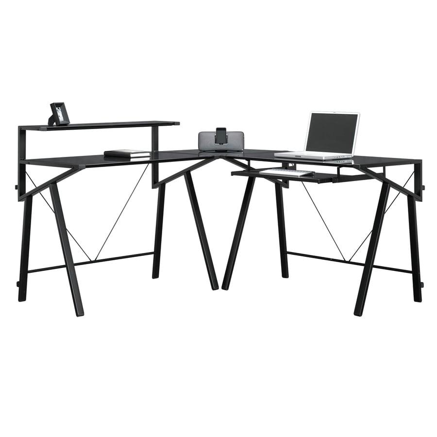 Sauder Vector Black Glass L Shaped Desk