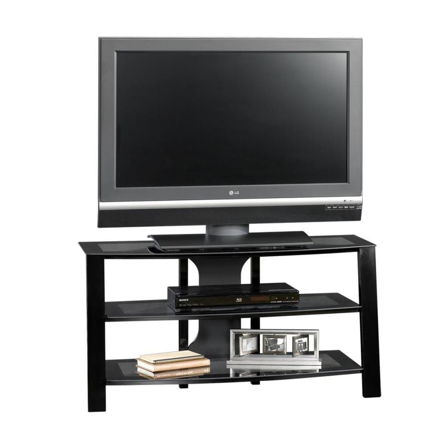 Sauder Mirage Black/Clear Glass Rectangular Pedestal TV Stand