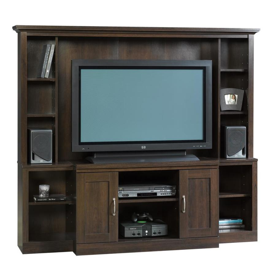 Sauder Cinnamon Cherry Rectangular Pedestal TV Stand