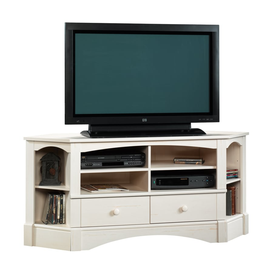 Sauder Harbor View Antiqued White Corner Corner TV Stand
