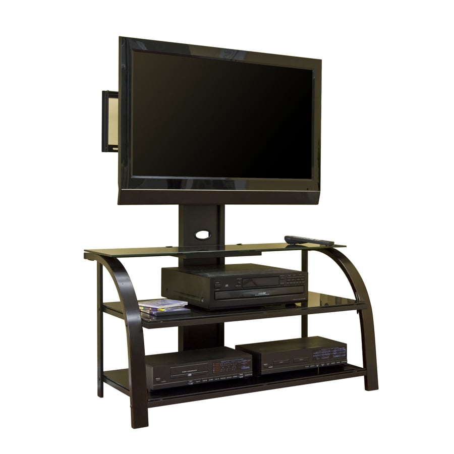 Sauder Black Dark Espresso Black Glass Rectangular Integrated Mount Television Stand