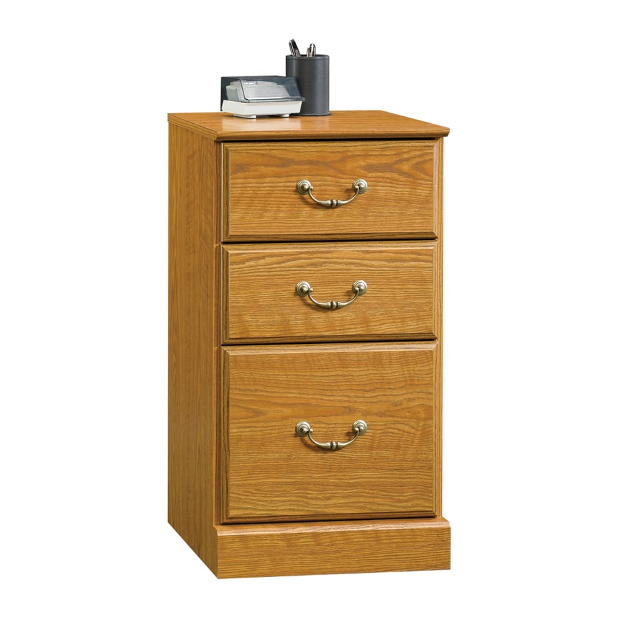 oak file cabinet shop sauder orchard carolina oak 3 drawer file 23844