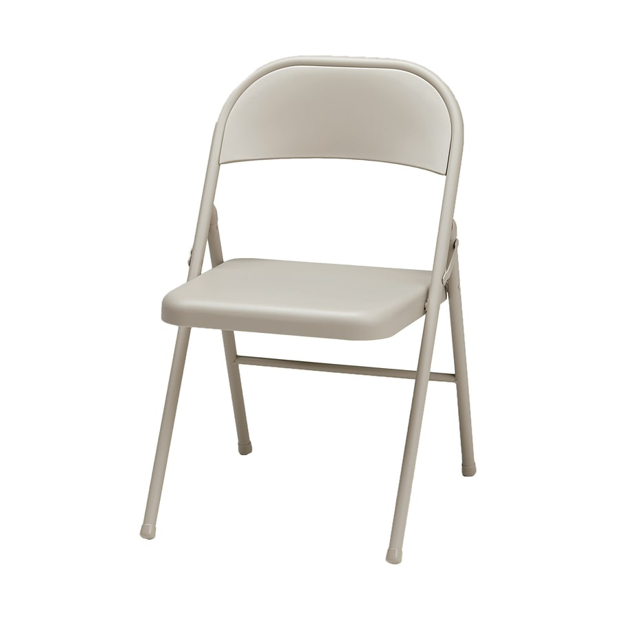 Style Selections Indoor/Outdoor Steel Buff Standard Folding Chair
