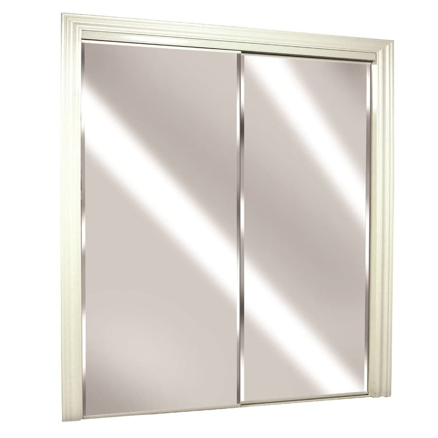 Shop ReliaBilt Flush Mirror Sliding Closet Interior Door (Common ...