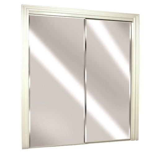 Reliabilt Glass Mirror Flush Steel Sliding Closet Door