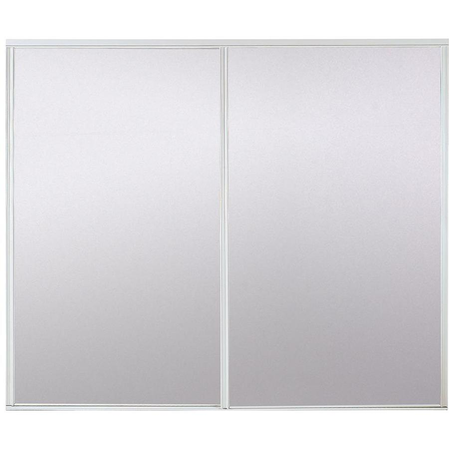 Mirrored Closet Doors Lowes shop reliabilt flush mirror sliding closet interior door (common