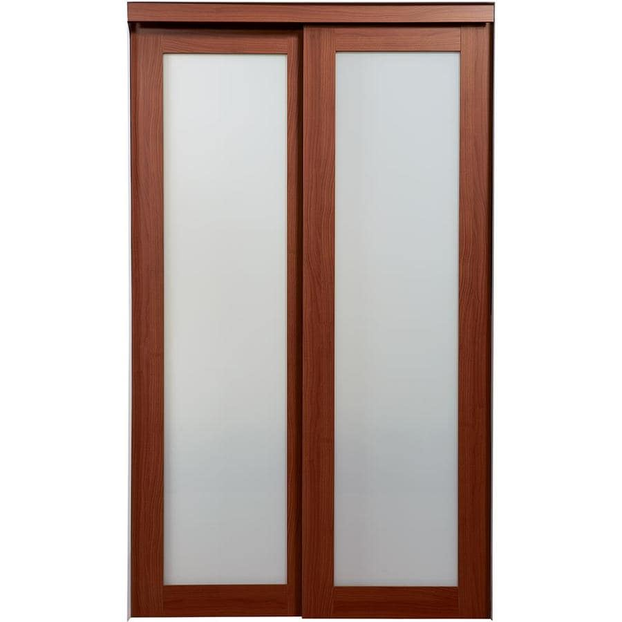 ReliaBilt 1-Lite Frosted Glass Sliding Closet Interior Door (Common: 72-in x 80-in; Actual: 72-in x 78.68-in)
