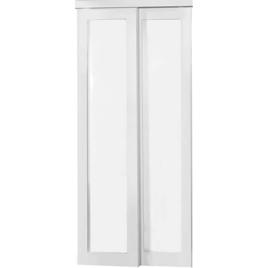 ReliaBilt Off-White 1-Lite Frosted Glass Sliding Closet Interior Door (Common: 72-in x 80-in; Actual: 72-in x 78.68-in)